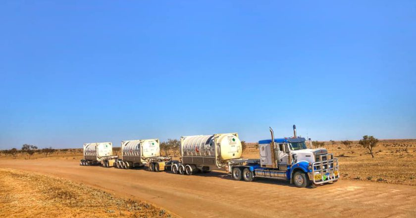 Callum McMahon carries liquid nitrogen across the Strzelecki Track in outback SA